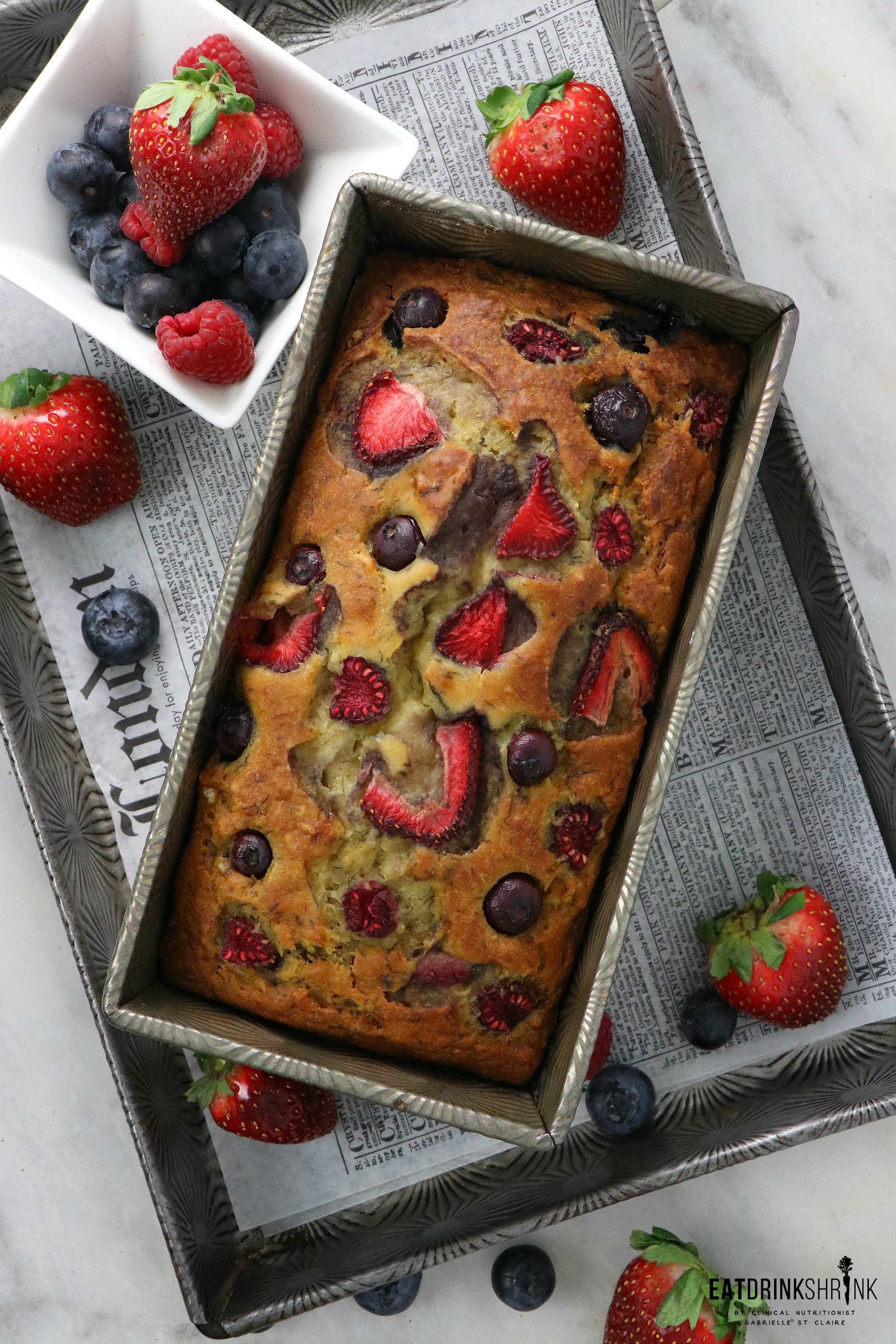 Vegan Triple Berry Banana Bread